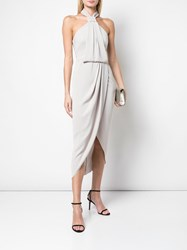 Shona Joy Halter Neck Draped Dress Neutrals
