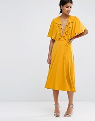 Asos Cape Open Back Plunge Midi Skater Dress Mustard Yellow