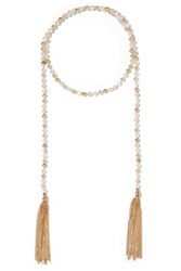 Kenneth Jay Lane Tasseled Gold Tone Crystal Necklace Clear