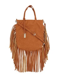 Urban Originals Luxe Fringe Tote Bag Tan