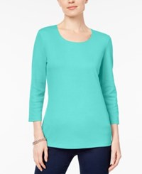 Karen Scott Scoop Neck Top Created For Macy's Pacific Aqua