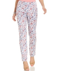 Charter Club Side Zip Skinny Floral Ankle Pants Strawberry Pink