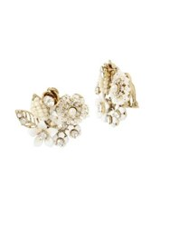 Miriam Haskell Vintage Pearl Crystal And Faux Pearl Floral Cluster Earrings White