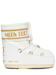 Moon Boot 50Mm Croc Embossed Leather Snow Boots White