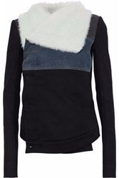 Rick Owens Shearling Leather And Denim Paneled Cotton Twill Jacket Black
