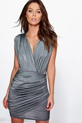 Boohoo Slinky Wrap Front Bodycon Dress Grey
