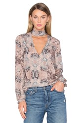 House Of Harlow X Revolve Naomi Tie Neck Blouse Taupe