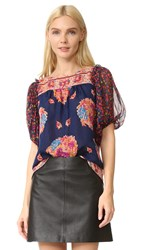 Anna Sui Bouquet Scarf Print Blouse Navy Multi