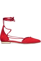 Schutz Toor Lace Up Nubuck Point Toe Flats Red