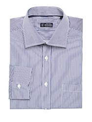 Breuer Striped Dress Shirt Navy