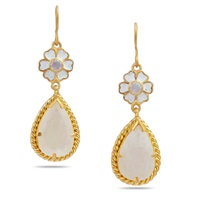 Emma Chapman Jewels Ellynor Moonstone Enamel Flower Earrings White