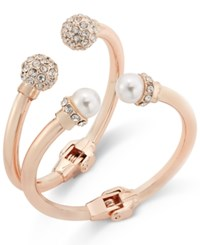 Inc International Concepts Imitation Pearl And Crystal Fireball Hinge Bracelet Set Only At Macy's Rose Gold
