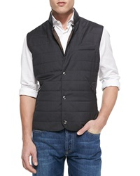 Brunello Cucinelli Wool Silk Snap Fitted Vest Gray