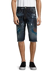 Cult Of Individuality Logan Printed Frayed Cuff Denim Shorts Deco Blue