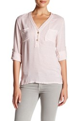 Luma Sequined V Neck Hi Lo Blouse Pink