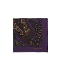 Ralph Lauren Purple Label Paisley Silk Twill Pocket Square Purple