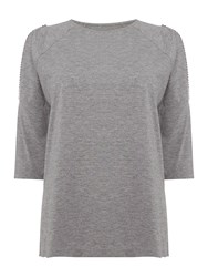 Label Lab Cold Shoulder Beaded Top Grey Marl