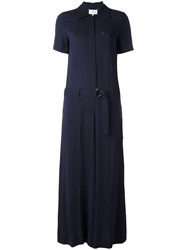 Maison Martin Margiela Belted Shirt Jumpsuit Blue