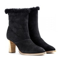 Chloe Shearling Lined Suede Ankle Boots Charcoal Grey