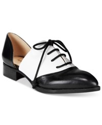 Nine West Nevie Oxford Two Piece Patent Flats Women's Shoes Black White