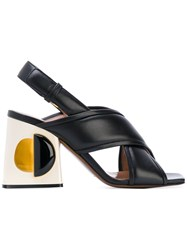 Marni Structural Block Heeled Sandals Women Leather Sheep Skin Shearling 38 Black