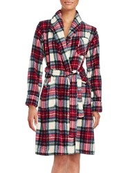 Lauren Ralph Lauren Printed Fleece Robe White Plaid