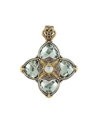 Konstantino Astritis Silver And 18K Gold Green Amethyst Pendant Enhancer Women's
