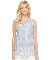 Karen Kane Lace Up Embroidered Sleeveless Top Blue Women's Clothing