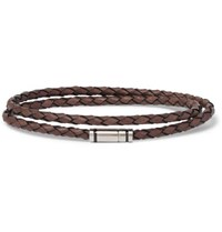 Hugo Boss Bruno Woven Leather And Silver Tone Wrap Bracelet Brown