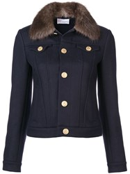 Red Valentino Faux Fur Collar Jacket Blue