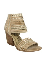 Naughty Monkey Strappy And Happy Leather Stacked Heel Sandals Beige