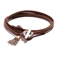 Jam Mmxiv Camel Leather Shoestring Wrap Bracelet With Two Tone Tassel Charm Neutrals