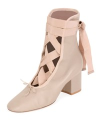 Valentino Ballet Napa Leather Lace Up Bootie Powder Poudre