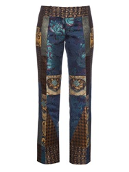 Etro Bianca Patchwork Kick Flare Trousers
