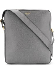 Thom Browne Seamed Panel Pebble Grain Leather Camera Bag Grey
