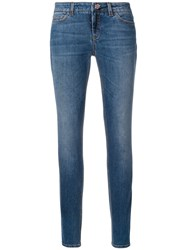 Dolce And Gabbana Skinny Jeans With Floral Button Blue