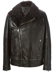 Dolce And Gabbana Shearling Collar Biker Jacket Black