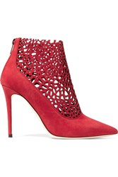 Jimmy Choo Maurice Laser Cut Suede Boots Red