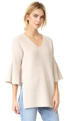 Derek Lam V Neck Tunic Sweater With Bell Sleeves Oatmeal