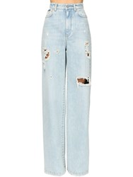 Dolce And Gabbana Distressed Wide Leg Cotton Denim Pants Light Blue