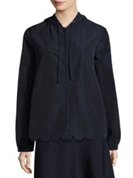 Red Valentino Scalloped Hooded Jacket Navy