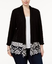 Inc International Concepts Plus Size Open Front Lace Trim Cardigan Only At Macy's Black