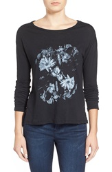Rvca 'In The Dark' Floral Graphic Tee Black