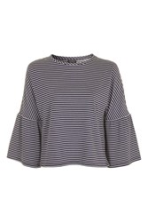 Topshop Petite Striped Bell Sleeve T Shirt Navy Blue