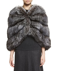 Michael Kors Fox Fur Cape Silver
