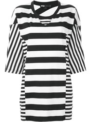 Y 3 Contrast Stripe Oversized T Shirt White