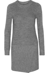 Etoile Isabel Marant Lemony Wrap Effect Ribbed Knit Mini Dress Gray