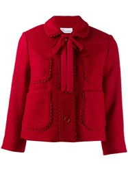 Red Valentino Cropped Scalloped Accents Jacket Red