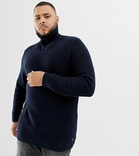 Tom Tailor Plus Knitted Funnel Neck Chunky Jumper In Navy