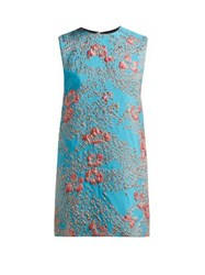 Halpern Floral Brocade Mini Dress Blue Multi